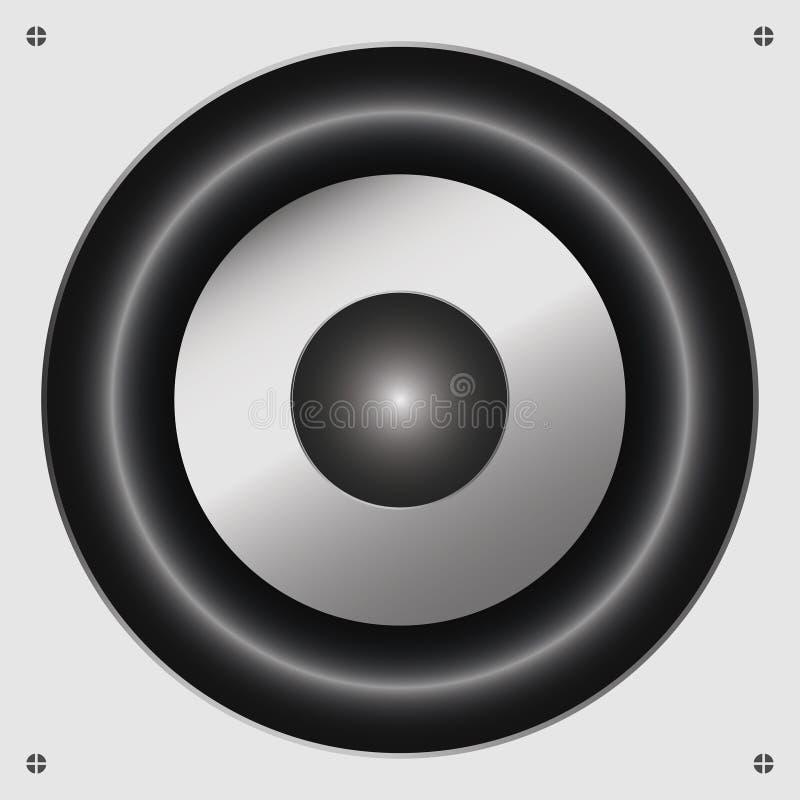 sound högtalare Dynamisk ljudsignal Musikalisk högtalare på en vit bakgrund med bultar vektor stock illustrationer