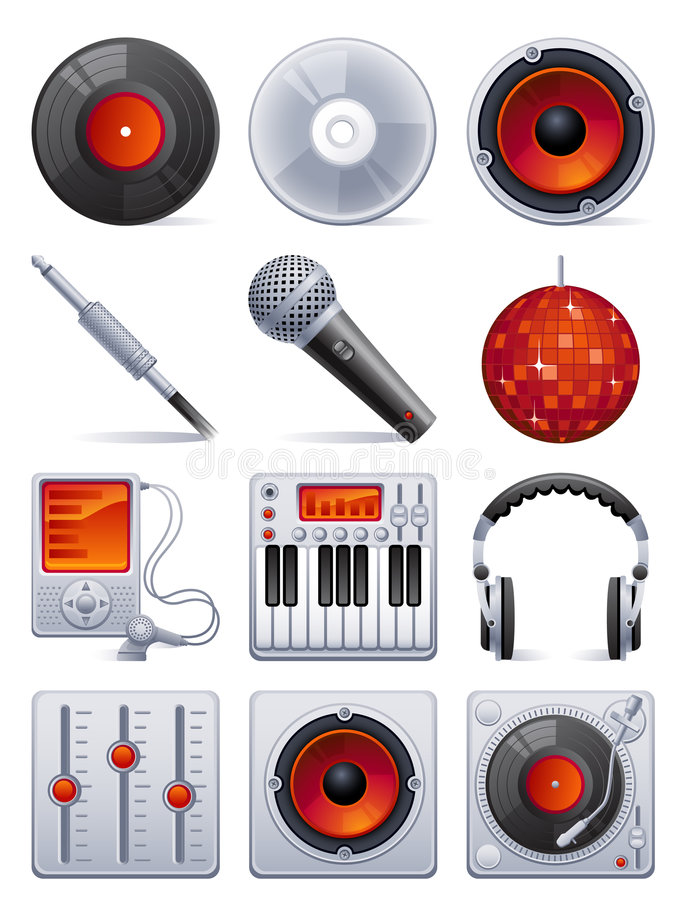 Download Sound icon set stock vector. Image of audio, symbol, disk - 8559472