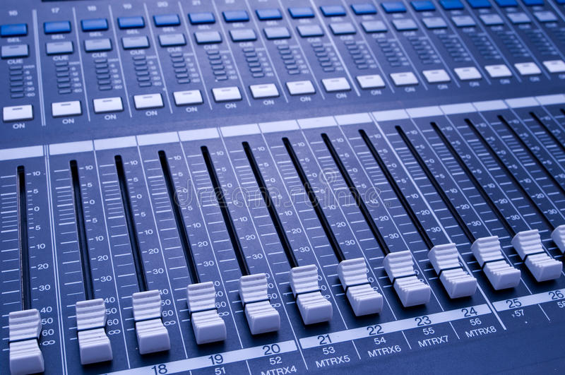 Sound knobs. Music control panel device close up stock photo