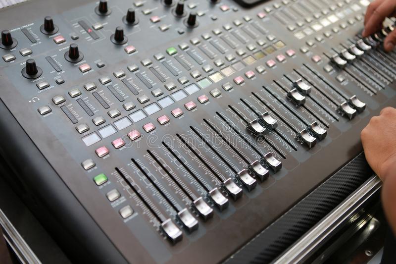Sound levels on a professional audio mixer, Music control panel royalty free stock photography
