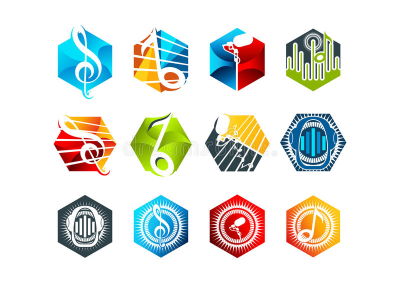 Sound,logo,karaoke,symbol,beat,icon and music concept design stock photos