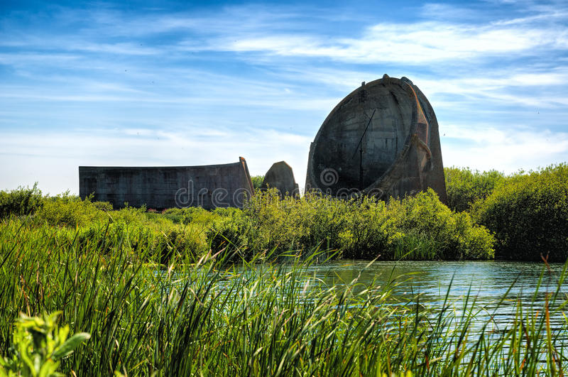 Sound Mirrors at Denge in Romney Marsh - Concrete Parabolic Sound capturing Mirrors. Sound Mirrors at Denge in Romney Marsh. Concrete Parabolic Sound capturing stock image