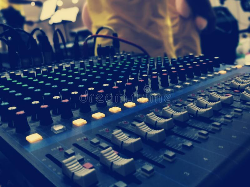 Sound mixer in conference hall. Sound mixer conference hall buttons music combine voice speaker loud soft electronics electric wire signal check engineer stock photos