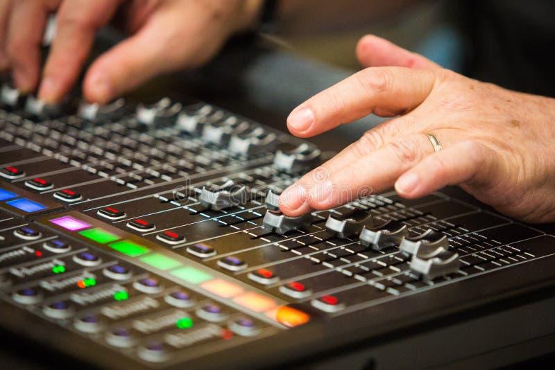 Sound mixer control board stock photo
