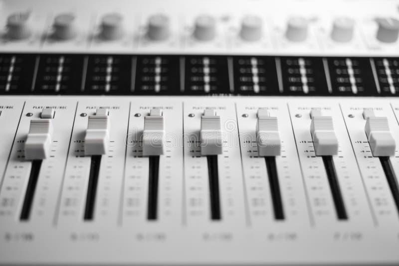 Sound mixer. Digital sound mixer (Buttons And Knobs Closeup stock photography