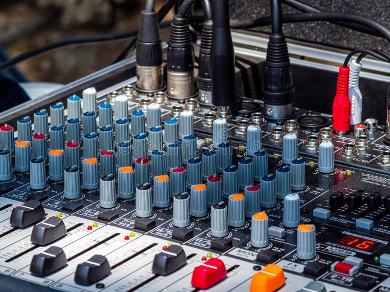 Sound mixer for rock band stock photography