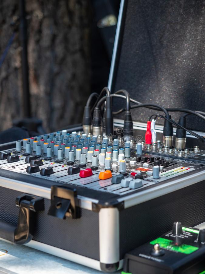 Sound mixer for rock band royalty free stock photo