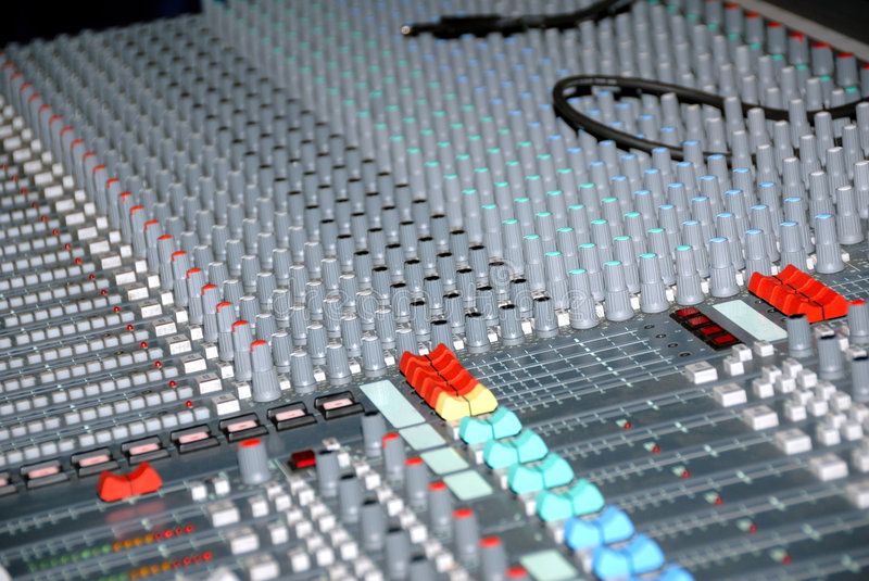 Sound mixing console stock image