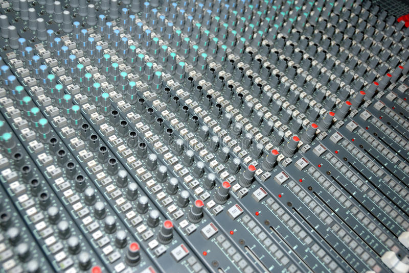 Sound mixing console stock photography