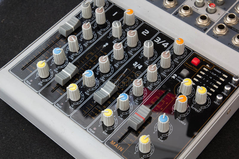 Sound Mixing Desk. Sound mixing so that the sound is a melodic, fun and inspiring stock photos