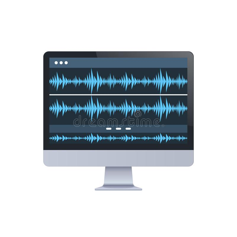Sound monitor audio waves oscillating blue light computer display digital technology record sound in studio concept stock illustration