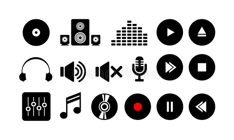 Sound music icon symbol. Flat sound music icon symbol stock illustration