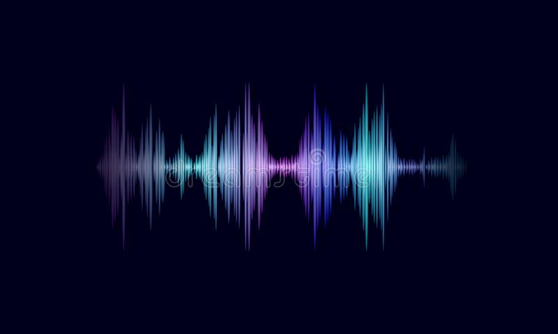Sound oscillating wave colorful glowing music. Recognition voice assistant technology waveform. Audio equalizer digital vector illustration