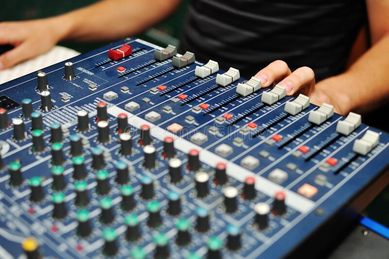 Work of the DJ stock image
