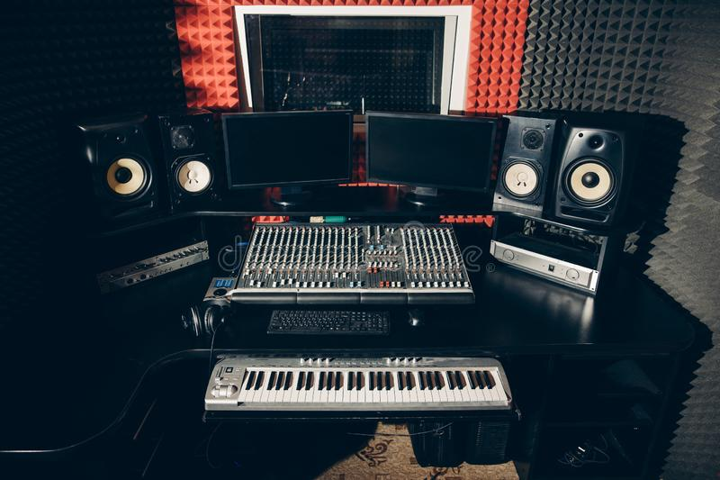 Sound producing equipment at music studio stock image