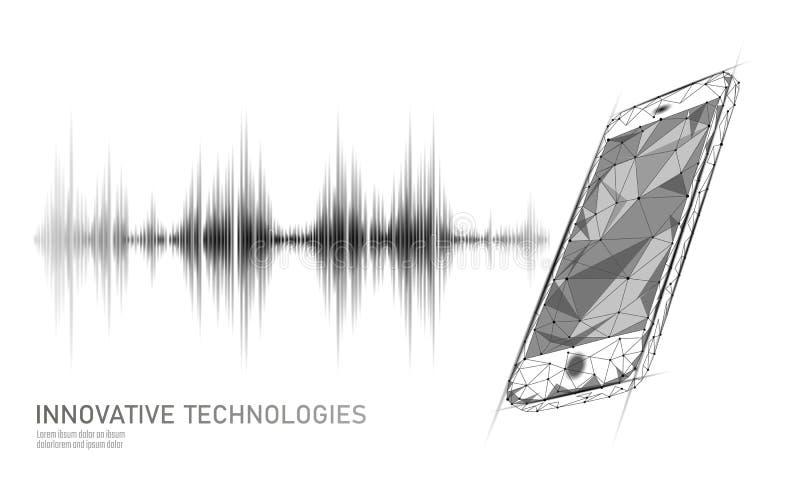 Sound recognition voice assistant low poly smartphone. Wireframe mesh polygonal 3D render sound innovative technology. Waveform. Audio equalizer digital stock illustration