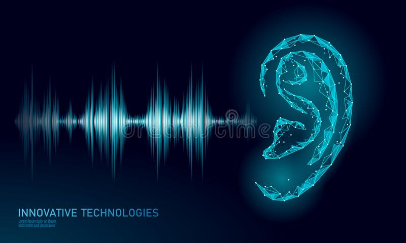 Sound recognition voice assistant low poly. Wireframe mesh polygonal 3D render ear sound radio wave innovative stock illustration