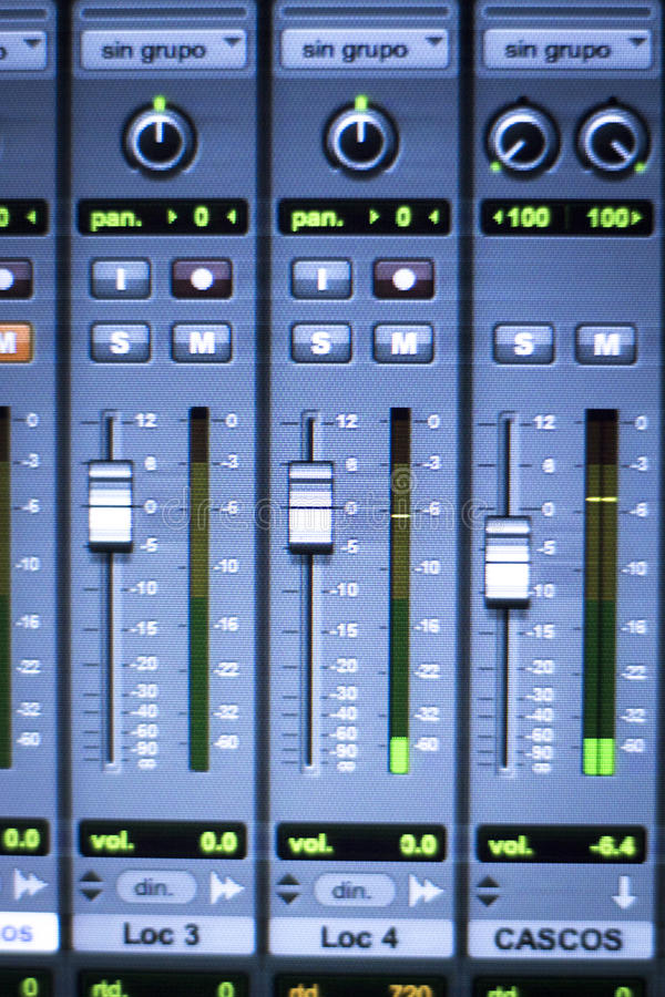 Sound recording audio studio. Professional sound recording audio studio digital equipment, amplifier, knobs and digital graphic equalizer controls on screen stock photos