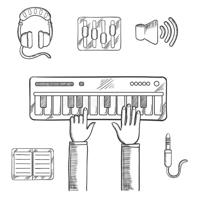 Sound recording and music icons sketch royalty free illustration