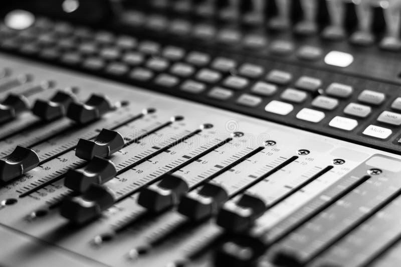Sound recording studio mixer desk: professional music production stock images