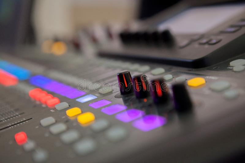 Sound recording studio mixing desk. Music mixer control panel royalty free stock photo