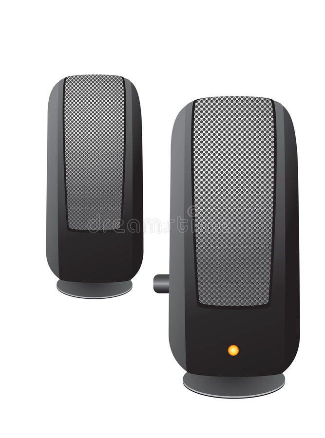 Sound speaker for the computer. Sound speaker for the computer on a white background stock illustration