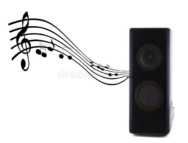 Sound speaker music. A sound speaker and the music royalty free stock photo