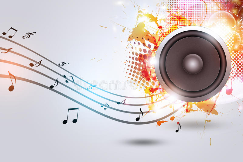 Sound Speaker with Music Notes royalty free illustration