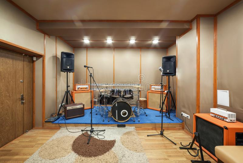Sound studio room with drum kit. royalty free stock photography
