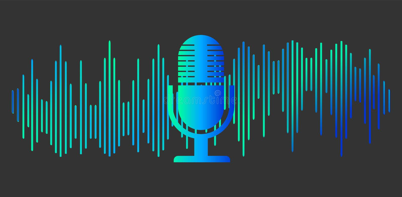 Sound symbol. Personal assistant. Voice recognition Microphone button. Vector illustration stock illustration