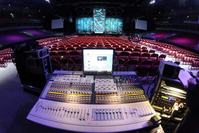 Sound system in concert. Sound system console in entertainment hall