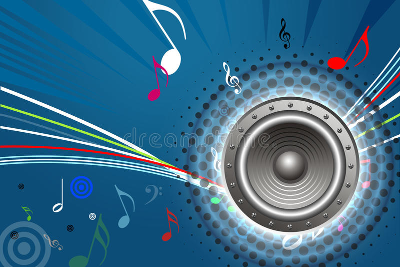 Sound System Design. Abstract background with loud speaker, sound waves and notes stock illustration