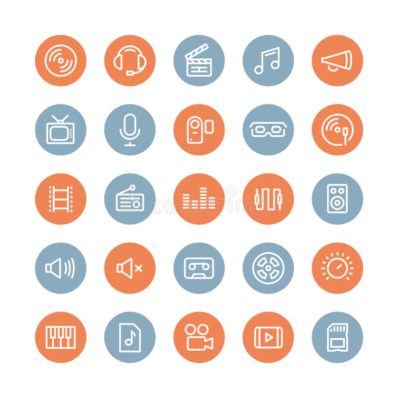 Sound And Video Flat Icons Set Stock Vector