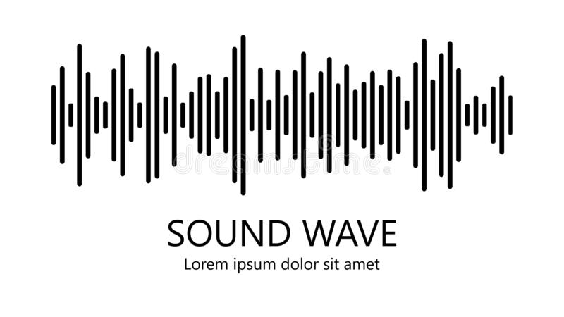 Sound wave. Audio equalizer. Detailed black lines on white background. Musical concept. Vector illustration royalty free illustration