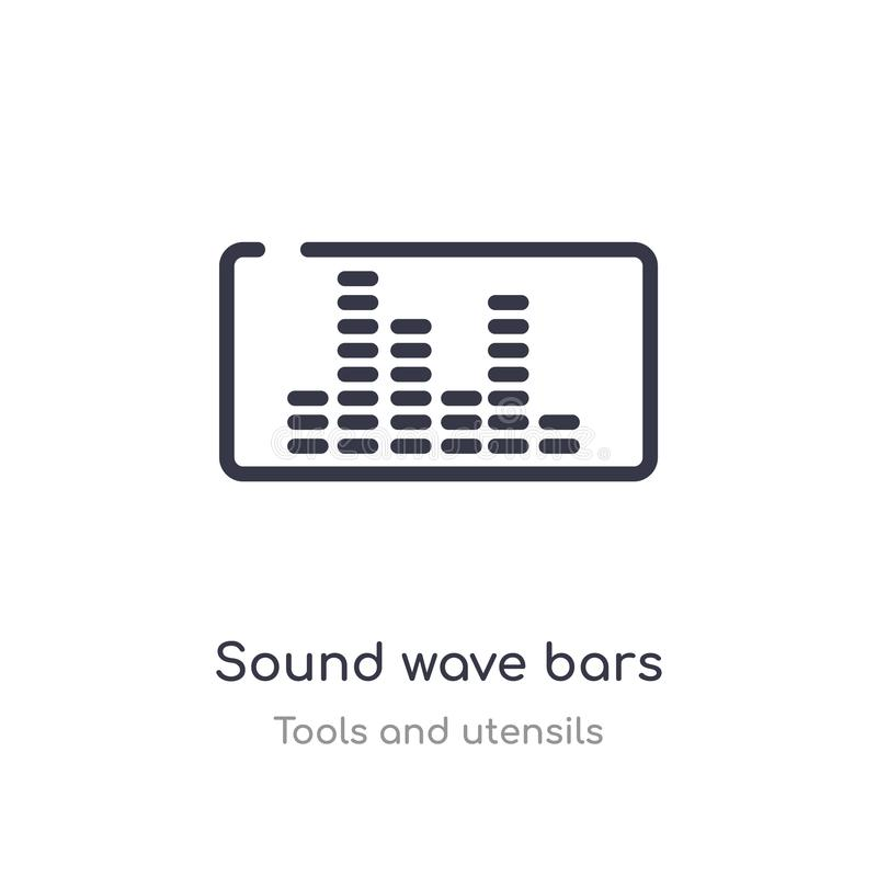 Sound wave bars outline icon. isolated line vector illustration from tools and utensils collection. editable thin stroke sound. Wave bars icon on white stock illustration