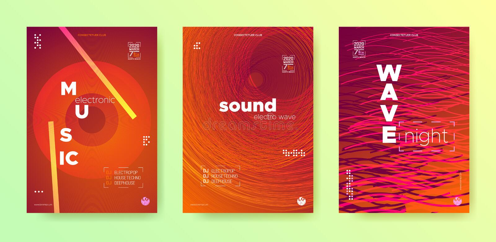 Sound Wave Flyer. Electronic Round. Music Dance stock illustration