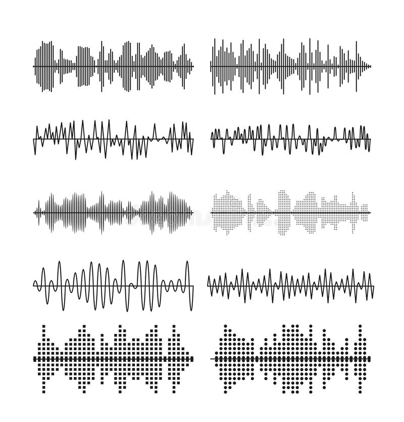 Sound wave forms vector illustration. Soundtrack audio music amplitude waveforms equalizer vector illustration