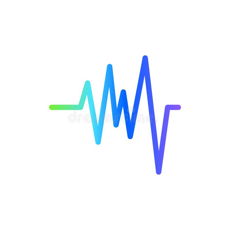 Sound wave graphic design template vector isolated illustration. Equipment, science, play, logo, element, stereo, color, concept, icon, modern, recorder, voice royalty free illustration