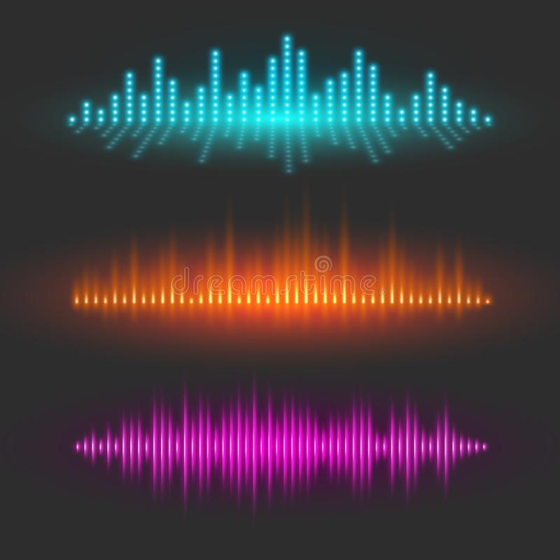 Sound wave graphical depiction, abstract waveforms royalty free illustration