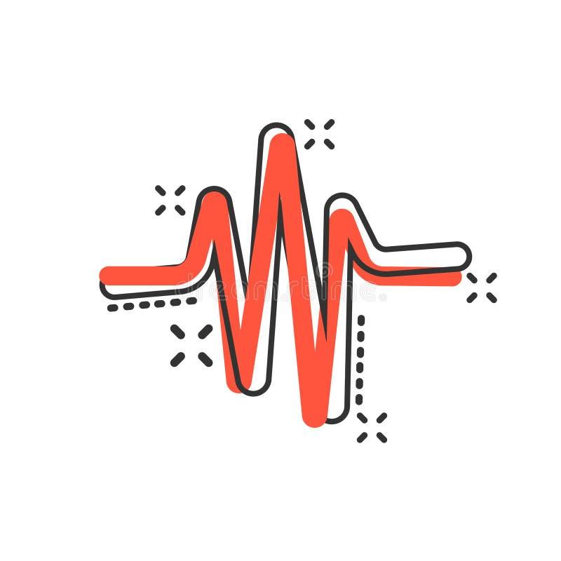 Sound wave icon in comic style. Heart beat vector cartoon illustration on white isolated background. Pulse rhythm splash effect royalty free illustration