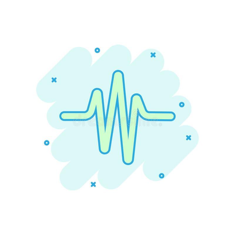 Sound wave icon in comic style. Heart beat vector cartoon illustration on white isolated background. Pulse rhythm splash effect stock illustration