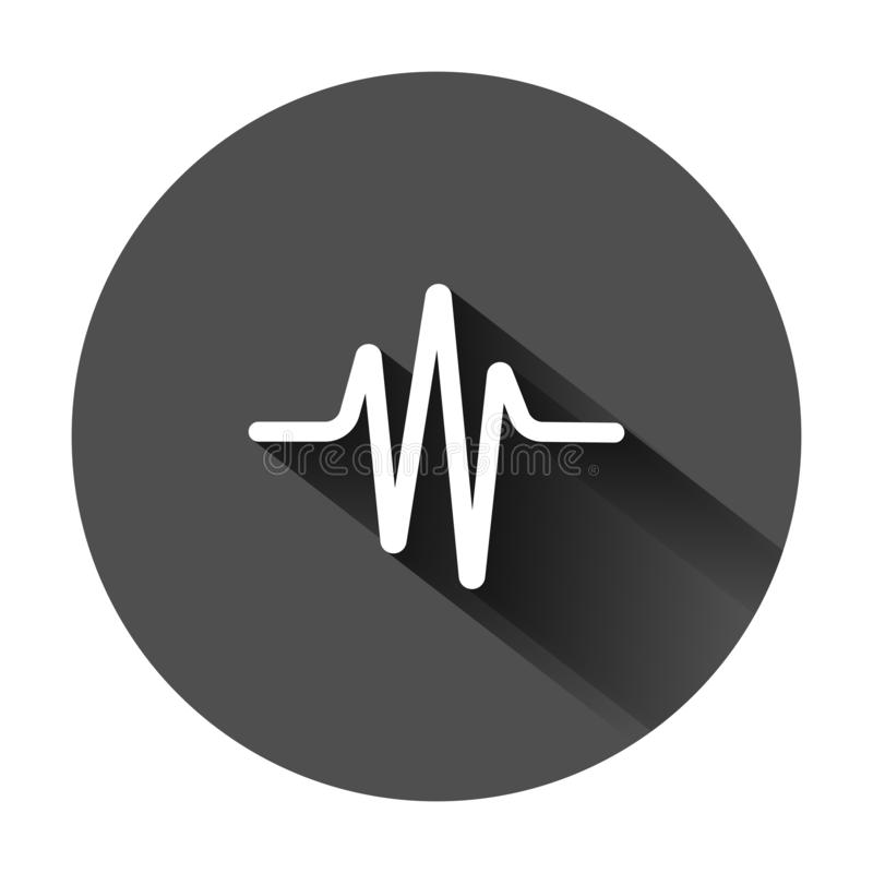Sound wave icon in flat style. Heart beat vector illustration on black round background with long shadow. Pulse rhythm business royalty free illustration
