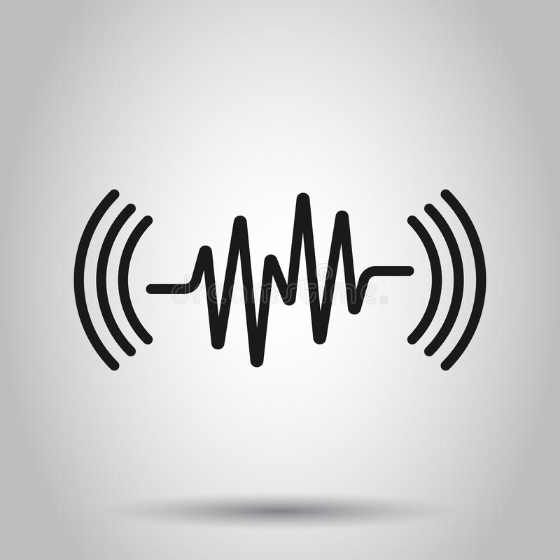 Sound wave icon in flat style. Heart beat vector illustration on isolated background. Pulse rhythm business concept royalty free illustration