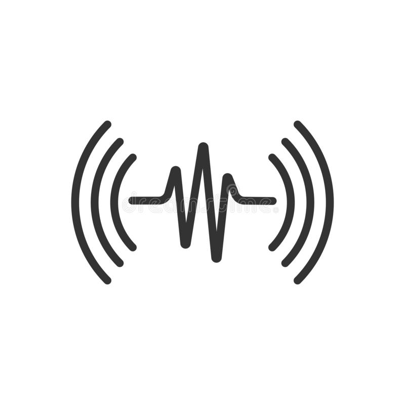 Sound wave icon in flat style. Heart beat vector illustration on white isolated background. Pulse rhythm business concept royalty free illustration