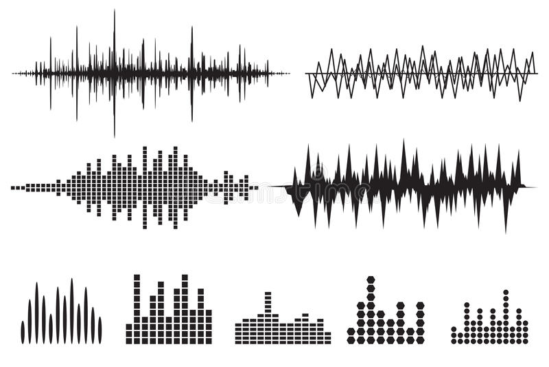 Sound Wave Icon Set. Music soundwave icons set. Equalize audio a stock illustration