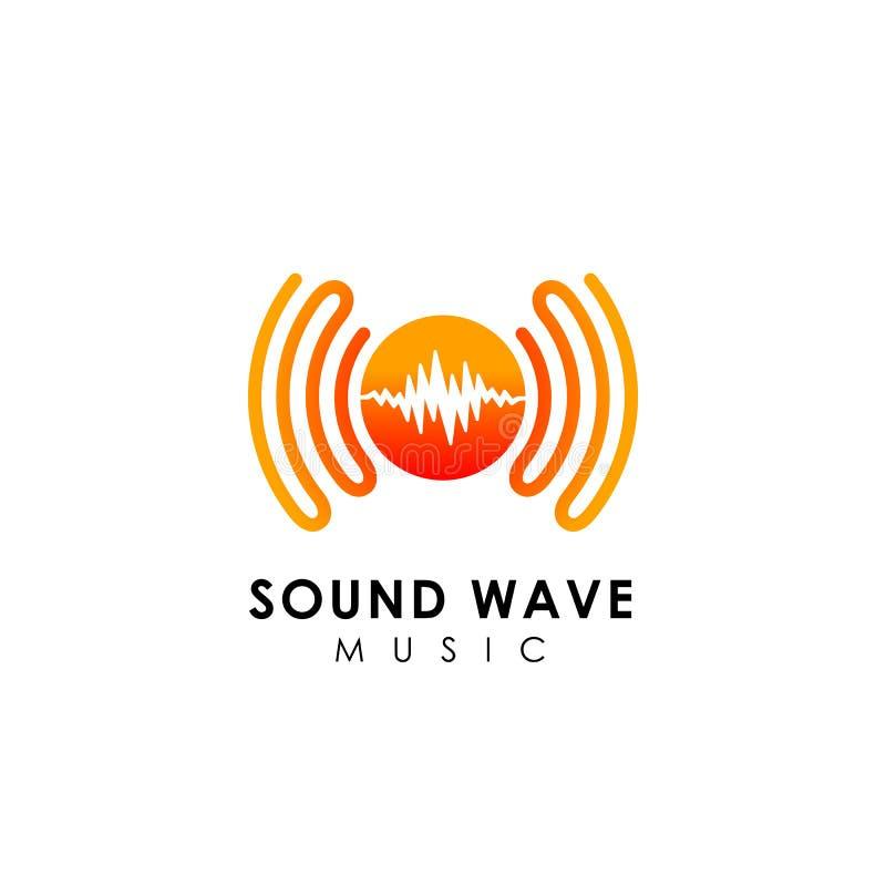 sound wave logo design. music logo icon design stock illustration
