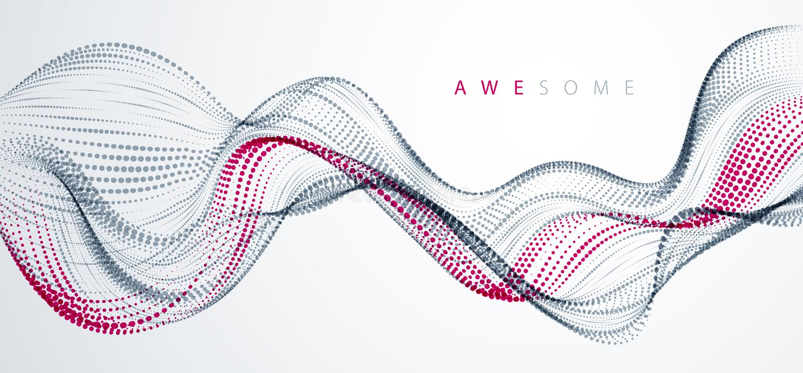 Sound wave, particles flow, effect in motion. dynamic vector abstract background. 3d shape dots blended mesh, future technology. Relaxing wallpaper vector illustration