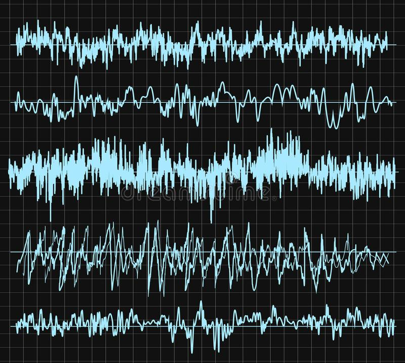 Sound wave set. Audio technology, musical pulse. Vector illustration. royalty free illustration