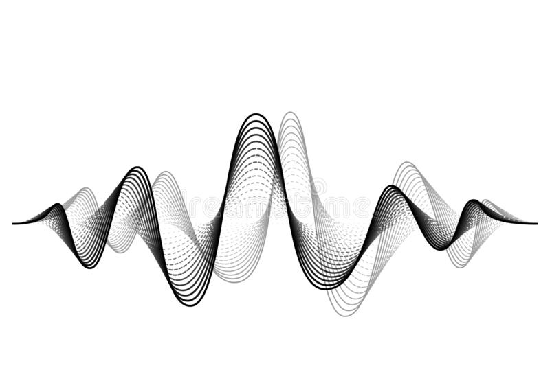 Sound wave vector background. Audio music soundwave. Voice frequency form illustration. Vibration beats in waveform. Black and white color. Creative concept vector illustration