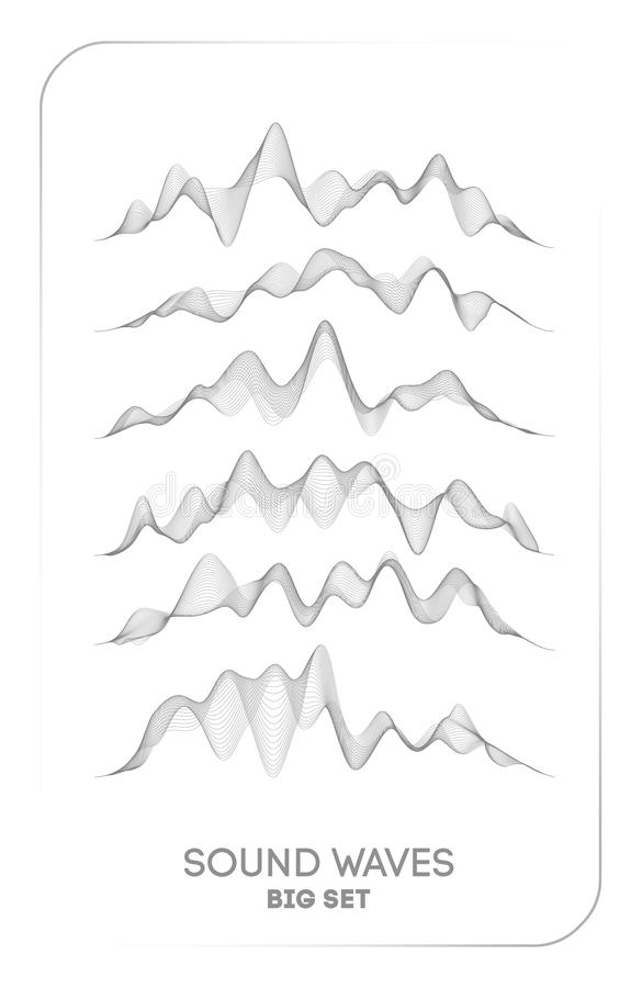 Sound wave vector . Vector music voice vibration, song waveform digital spectrum, audio pulse and waveform frequency vector illustration